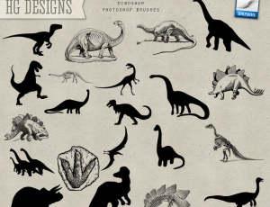 卡通恐龙造型、侏罗纪恐龙剪影PS笔刷素材下载