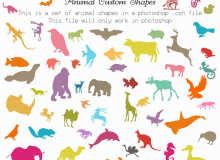 各种野生动物、鸟类、爬行动物、鱼类Photoshop自定义形状素材 .csh 下载