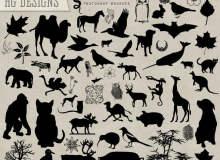 骆驼、猫头鹰、黑猩猩、兔子、蝙蝠、抹香鲸、猫咪、鸵鸟、大象、麋鹿、长颈鹿、野猪、小狗、袋鼠等PS笔刷剪影素材