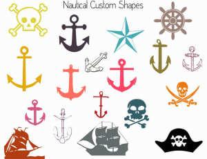 船锚、海盗船、海盗元素、海盗骷髅头photoshop自定义形状素材 .csh 下载
