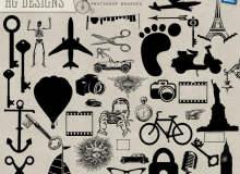 钥匙、飞机、剪刀、脚印、铁塔、电动车、自行车、眼镜、帆船、麦克风、老爷车等生活元素图形PS笔刷素材下载