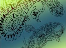 漂亮的中东伊斯兰式花纹印花图案PS笔刷素材下载