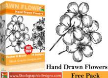 漂亮的手绘的鲜花绽放、花朵图案PS笔刷素材下载