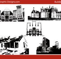 都市城市、乡村剪影图形PS笔刷素材