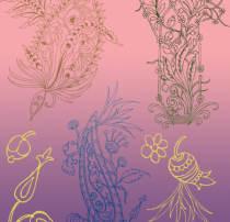 漂亮的手绘植物花纹、印花图案Photoshop笔刷素材下载