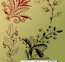 4种手绘植物印花图案Photoshop笔刷素材