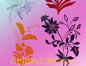 秀丽漂亮的手绘植物鲜花花朵花纹图案PS笔刷素材下载