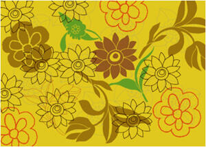 漂亮的手绘鲜花盛开图案Photoshop笔刷素材下载