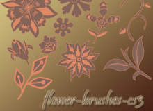 手绘漂亮的鲜花花朵印花图案PS笔刷下载素材