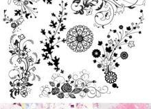 优美漂亮的植物花纹图案系列PS笔刷素材下载