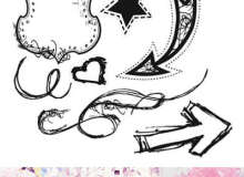 手绘箭头、五角星、徽章、爱心等标记符号PS笔刷素材