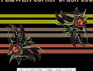 6种艺术鲜花花纹图案Photoshop笔刷素材下载