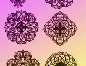 7种漂亮的鲜花花纹图案、贵族式窗花纹理Photoshop笔刷素材下载