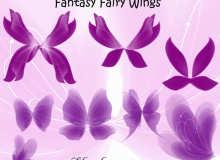 漂亮的花瓣翅膀、妖精翅膀、精灵的翅膀素材PS笔刷下载