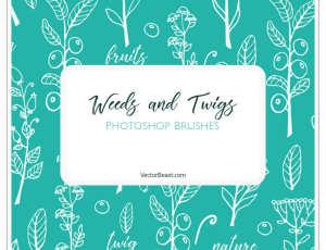 漂亮的植物花纹图案、小清新手绘印花Photoshop笔刷素材下载