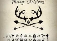 新年快乐、圣诞节可爱装扮图案Photoshop笔刷素材下载
