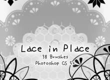 简单漂亮的花边装饰图案、印花效果PS笔刷素材