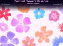 水粉、颜料鲜花、小红花印花图案PS笔刷素材下载