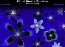 漂亮的花朵、鲜花图案PS笔刷素材下载