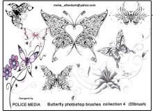 漂亮的花纹式蝴蝶图案Photoshop笔刷素材下载