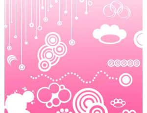 矢量状云朵、非主流同心圆装扮、童趣脚印等可爱PS笔刷素材