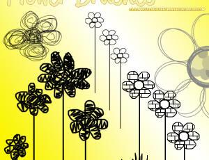 幼稚呆萌的手绘鲜花、花朵图案PS笔刷素材