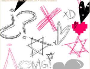 卡哇伊童趣手绘线条图形PS笔刷素材下载