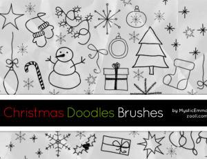 卡哇伊呆萌的圣诞节童趣涂鸦PS美图笔刷