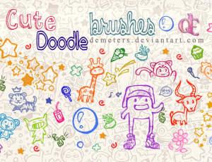超可爱的童趣呆萌动物图案PS美图笔刷