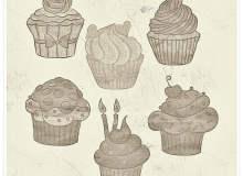 可爱的卡通纸杯蛋糕图形PS呆萌笔刷