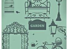 浪漫的复古花园装饰图案PS笔刷素材下载