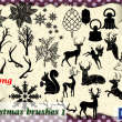 圣诞节卡通装饰品麋鹿、圣诞节树叶、圣诞铃铛PS笔刷素材下载