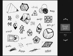 童趣手绘几何图形Photoshop笔刷素材下载