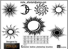 花式太阳、月亮花纹刺青、纹饰、纹身图案PS笔刷素材下载