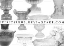 欧式陶器、建筑装饰图案PS笔刷素材下载