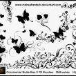 漂亮的蝴蝶与植物艺术花纹图案Photoshop笔刷素材下载