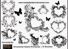 爱心、心形图案植物花纹、爱心花圈图案Photoshop恋爱笔刷