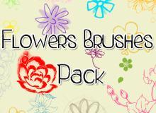 可爱的鲜花花朵图案Photoshop手绘花纹笔刷