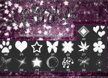 爪印、爱心、五角星、蝴蝶、枫叶、鲜花、星星、音符等图形元素PS笔刷下载