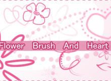 可爱卡哇伊手绘爱心、鲜花花朵图案Photoshop笔刷素材下载