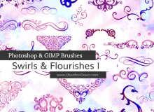 各种各样的漩涡式装饰图案和花饰组成Photoshop笔刷素材
