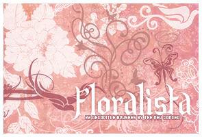 漂亮的植物鲜花与蝴蝶花纹图案PS笔刷素材(PNG透明格式素材)