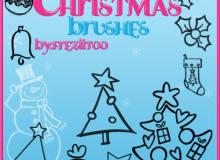可爱的圣诞节手绘涂鸦圣诞树、雪人、铃铛、彩球等圣诞节装饰品PS笔刷素材下载