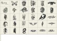 酷炫魔鬼、恶魔纹身图案、种族图腾刺青徽章、魔龙纹饰PS笔刷素材