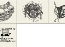 手绘骷髅头图案Photoshop笔刷素材