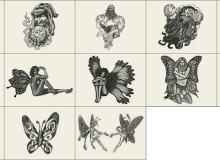 女妖精、巫师、魔法师图案Photoshop笔刷素材下载