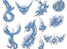 酷炫的恶魔火龙、蛟龙、火凤凰、魔鬼、鲜花等纹身刺青图案PS笔刷素材