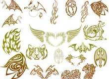 火焰风格纹身刺青图案、火焰恶龙、火焰爱心、火焰蝙蝠、火焰猛虎、火焰翅膀PS笔刷