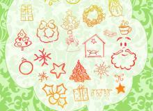 可爱的卡通圣诞节图案PS装扮笔刷