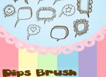 可爱卡通手绘对话框、消息框、气泡框图案PS美图笔刷